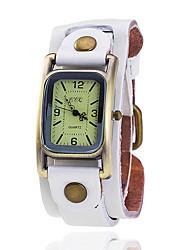 cheap -XU Women's Vintage Wrist Watch Leather Belt Casual Rectangular Dial Bracelet Watch