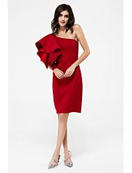 Gaine Robe Femme Soirée / Cocktail Soirée Sexy simple Chic de Rue,Couleur Pleine Une Epaule Mi-long Sans Manches Polyester Printemps Eté