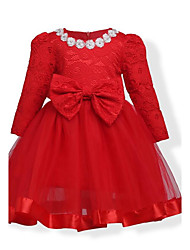 Girl's Birthday Daily Holiday Solid Floral Dress,Cotton Winter Fall Long Sleeve Floral Lace Bow Red