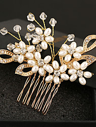 Imitation Pearl Rhinestone Alloy Tiaras Hair Combs Flowers Headpiece