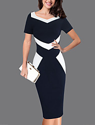 cheap -Women's Plus Size Work Slim Sheath Dress - Color Block Sweetheart Blue & White
