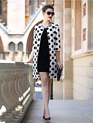 preiswerte -Damen Solide Punkt Einfach Lässig/Alltäglich Muskelshirt Rock Anzüge,Rundhalsausschnitt Frühling ¾ Ärmel