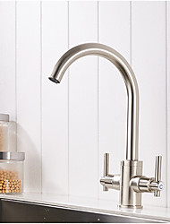 Moderne Moderne/Contemporain Vasque Séparé Soupape céramique Nickel brossé , Robinet de Cuisine