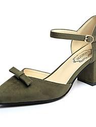 Feminino Sandálias Conforto Couro Ecológico Primavera Verão Casual Salto Baixo Preto Amarelo Verde Rosa claro Menos de 2,5cm