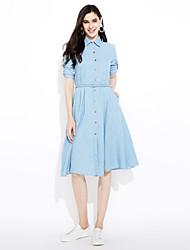 baratos -sinal denim saia mulheres vestido de mangas compridas longa seção da nova moda coreana magro era vestido fino