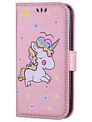 cheap -Case For LG Card Holder with Stand Flip Pattern Full Body Cases Unicorn Hard PU Leather for LG K10 LG K8 LG K7