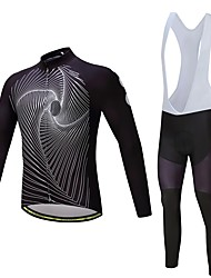 cheap -Cycling Jersey with Bib Tights Unisex Long Sleeves Bike Clothing Suits Thermal / Warm Thick Polyester Fleece Silicon LYCRA® Winter