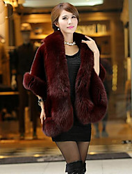 cheap -Women's Daily Simple Casual Winter Fall Fur Coat,Solid Shawl Lapel Sleeveless Long Others Fur Trim