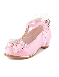 cheap -Girls' Flats Comfort Novelty Flower Girl Shoes Fall Winter Leatherette Casual Dress Crystal Bowknot Flat Heel White Blushing Pink Flat