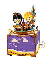 cheap -Music Box Wood Square Horse Carousel Furnishing Articles DIY Classic Kid's Gift