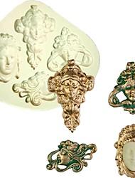 cheap -Vintage Art Nouveau Faces Formas De Silicone Mold Fondant Cake Molds Cupcake Chocolate Moulds Kitchen Accessories Random Color