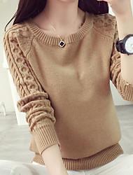 Standard Pullover Da donna-Casual Tinta unita Rotonda Manica lunga Cotone Lino Autunno Medio spessore Media elasticità