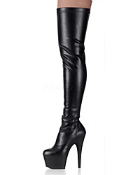 cheap -Women's Shoes PU Winter Fashion Boots Boots Stiletto Heel Round Toe Over The Knee Boots Zipper For Party & Evening White Black