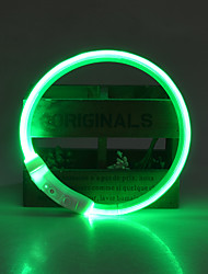 cheap -Dog Collar LED Lights / Adjustable / Retractable / Rechargeable Solid Colored TPU Green / Blue / Pink