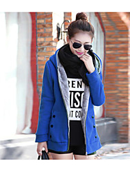 Women's Going out Casual/Daily Simple Fall Winter Coat,Solid Hooded Long Sleeve Long Cotton