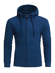 Men's Plus Size Plus Size Casual/Daily Simple Hoodie Solid Cut Out Hooded Inelastic Polyester Long Sleeve Fall Winter