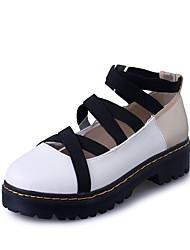 Da donna Oxfords Comoda Estate PU (Poliuretano) Casual Basso Bianco 5 - 7 cm