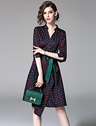 cheap -EWUS Women's Daily Going out Street chic A Line Dress,Print V Neck Knee-length Half Sleeves Polyester Summer Fall Mid Rise Micro-elastic Thin