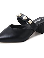abordables -Mujer Zapatos PU Verano Confort Sandalias Paseo Tacón Bajo Dedo Puntiagudo Perla para Casual Negro Beige Pantalla de color