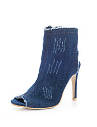 cheap -Women's Boots Comfort Cowboy / Western Boots Spring Fall Denim Casual Dress Party & Evening Zipper Stiletto Heel Dark Blue Light Blue
