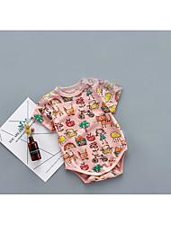 abordables -bébé Une-Pièce Motif Animal Rayure Bande dessinée Coton Eté Manches Courtes Blanc Rose Claire