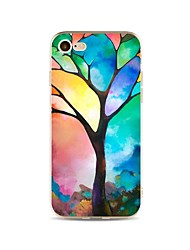 Taske til iphone 7 plus 7 cover gennemsigtigt mønster bagcover case farve gradient træ blødt tpu til apple iphone 6s plus 6 plus 6s 6 se