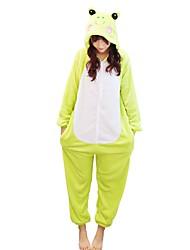 baratos -Adulto Pijamas Kigurumi Sapo Pijamas Macacão Ocasiões Especiais Flanela Verde Cosplay Para Pijamas Animais desenho animado Dia das Bruxas Festival / Celebração / Natal