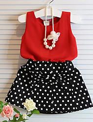 Girls' Polka Dots Print Sets,Cotton Polyester Summer Short Sleeve Clothing Set