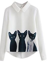 Недорогие -Для женщин На выход Рубашка Рубашечный воротник,Простое С принтом Длинный рукав,Лён