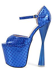 preiswerte -Damen Schuhe PU Frühling Herbst T-Riemen Pumps High Heels Blockabsatz Peep Toe Schnalle für Party & Festivität Gold Fuchsia Blau