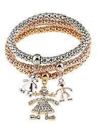 Недорогие -Жен. Браслет цельное кольцо Синтетический алмаз металлический На заказ Богемные Природа Двусторонний Стразы Сплав Круглый Бижутерия Для