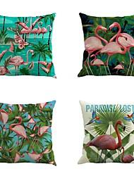 Set Of 4 Tropical Romance Flamingo Pillow Cover Classic Flamingo Printing Pillow Case Home Decor