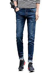 Men's Mid Rise Micro-elastic Skinny Jeans PantsSimple Slim Solid UK-906