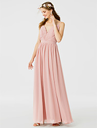 A-Line Princess Spaghetti Straps Floor Length Chiffon Bridesmaid Dress with Sash / Ribbon Side Draping by LAN TING BRIDE®