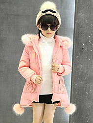cheap -Girls' Solid Patchwork Down & Cotton Padded,Polyester Winter Fall Long Sleeve Bow Blushing Pink Purple