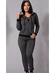 cheap -Women's Daily Casual Spring T-shirt Pant Suits,Solid Hooded Long Sleeve Spandex