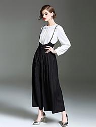 Da donna A vita medio-alta Semplice Anelastico A zampa Tuta da lavoro Pantaloni,Largo A zampa A strisce