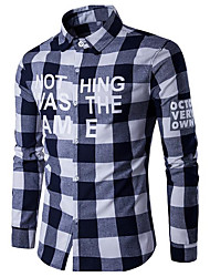 Men's Going out Active Shirt,Solid Striped Geometric Shirt Collar Long Sleeves Cotton Linen Polyester