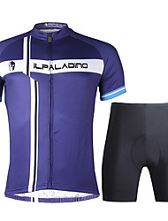cheap -ILPALADINO Men's Short Sleeve Cycling Jersey with Shorts - Black Bike Clothing Suit, 3D Pad, Quick Dry Lycra / Stretchy