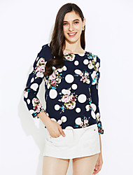 Women's Fashion All Match Print T-shirt , Round Neck Long Sleeve