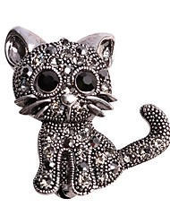 cheap -Cute Little Cat Brooches Pin Up Jewelry For Women Suit Hats Clips Corsages Brand Bijoux Brooch