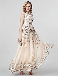 Corte en A Princesa Joya Hasta el Suelo Raso Evento Formal Vestido con Plisado por TS Couture®