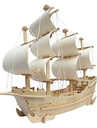 baratos -Quebra-Cabeças 3D Quebra-Cabeça Modelos de madeira Barco de Guerra Construções Famosas Casa De madeira Madeira Natural Unisexo Dom