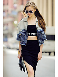 Women's Going out Simple Winter Denim Jacket,Solid Color Block Shirt Collar ¾ Sleeve Short Polyester