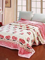 Недорогие -Плюш, С принтом Цветы Хлопок одеяла