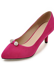 Women's Heels Basic Pump Formal Shoes Velvet Spring Fall Office & Career Party & Evening Dress Rhinestone Beading Stiletto HeelBlushing