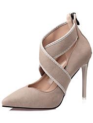 Femme Chaussures à Talons Confort Automne Daim Habillé Fermeture Talon Aiguille Noir Gris Amande Kaki 10 à 12 cm