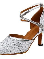 Women's Modern Sparkling Glitter Sandals Indoor Customized Heel Gold Silver Blue