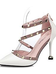 Women's Heels Comfort Fall Leatherette Dress Beading Stiletto Heel White Black Gray Ruby Light Pink 3in-3 3/4in