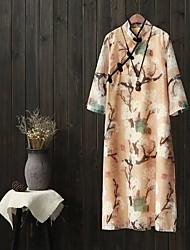 Ample Robe Femme Vacances Sortie Décontracté / Quotidien simple Chic de Rue,Couleur Pleine Imprimé Col Ras du Cou Midi Manches 3/4Coton